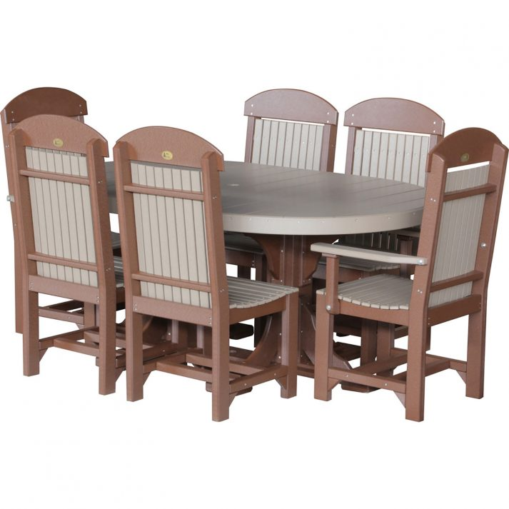 luxcraft-poly-4ft-6ft-oval-table-set-2-with-4-table-chairs-2-captain-chairs brown