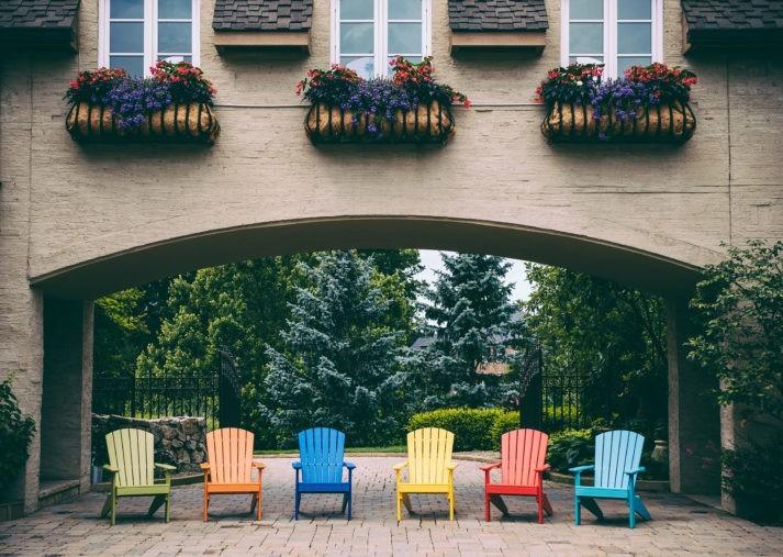 Lakeside Adirondack Chairs Lime Green Tangerine Blue Yellow Red Aruba Blue