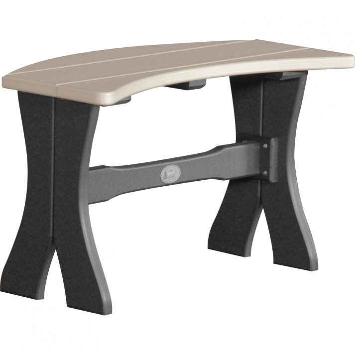 P28TBWWB Poly 28in Table Bench Weatherwood Black