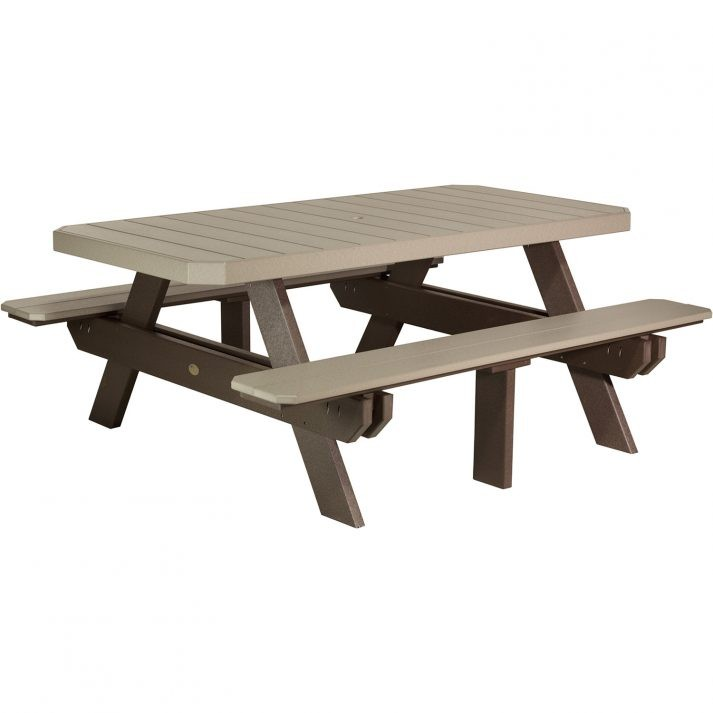 P6RPTWWCBR Poly 6ft Rectangular Picnic Table Weatherwood Chestnut Brown