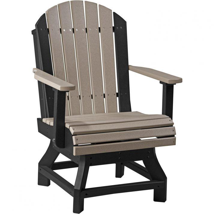 PASCDWWB Poly Adirondack Swivel Chair Dining Height Weatherwood Black