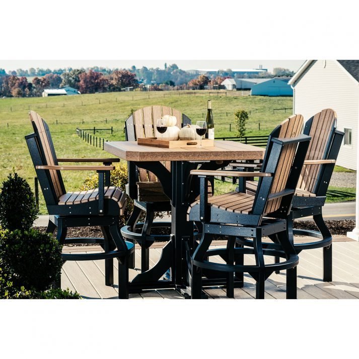 Poly 41in Square Table Set 1 Bar Height Antique Mahogany Black 1