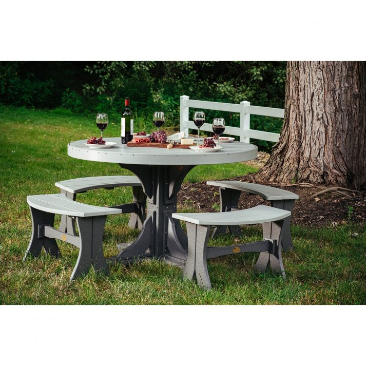 Poly 4ft Round Table Set 3 Dining Height Dove Gray Slate 1