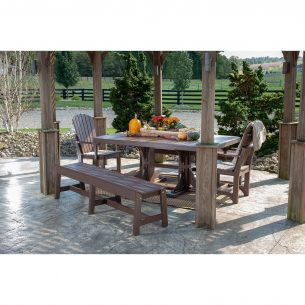 Poly 4ftx6ft Rectangular Table with 2 Café Dining Benches and 2 Adirondack Arm Chairs Dining Height Chestnut Brown 1