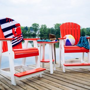 Poly Adirondack Balcony Chairs and Deluxe End Table 28in Red White