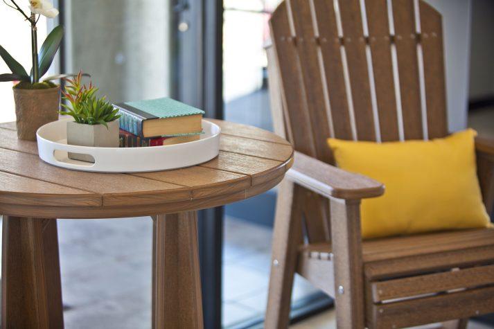Poly Adirondack Balcony Table Set Antique Mahogany