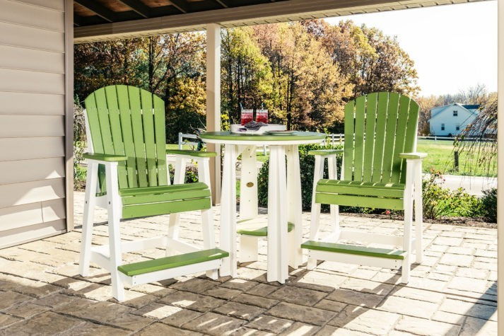 Poly Balcony Table with Balcony Chairs Lime Green White
