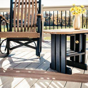 Poly End Table Antique Mahogany Black 2
