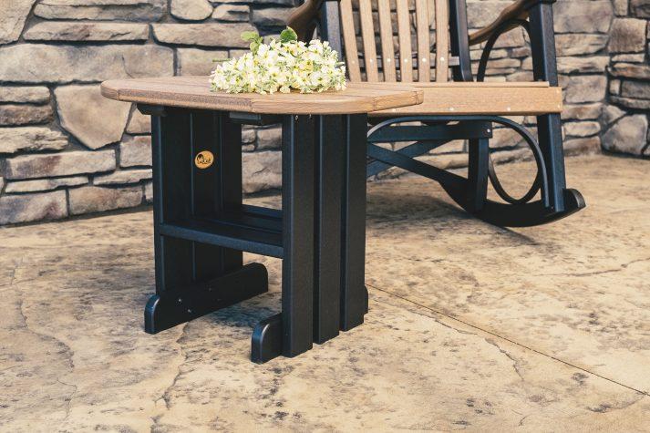 Poly End Table Antique Mahogany Black
