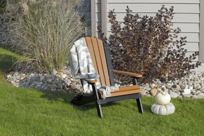 Poly Folding Adirondack Chair Cedar Black