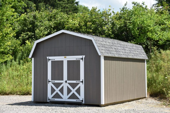 12x16 Lofted Barn Driftwood Urethane with Whit Trim Estate Gray Shingles scaled