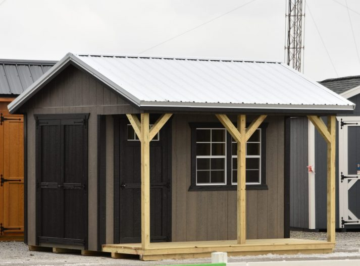SCSP 12x12 Cabin Side Porch Driftwood Urethane with Black Trim Galvalume Metal scaled e1587478055424