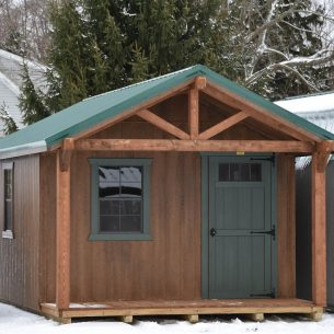 SCTF 12x20 Cabin Timber Frame Chestnut Brown Urethane with Solid Forestwood Door Ivy Metal Copy copy