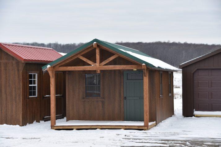 SCTF 12x24 Cabin Timber Frame Chestnut Brown Urethane w Solid Forestwood Door Ivy Metal scaled