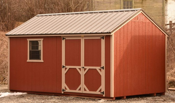 UG 10x16 Utility Gable Rustic Red with Sanderling Trim Bronze Metal 2 copy e1587209637885