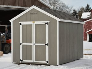 Gable River Birch with White Trim Driftwood Shingles