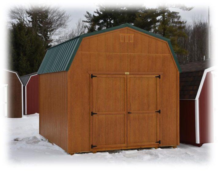 Utility Lofted Barn 10x12 Honey Gold Urethane Green Metal 1