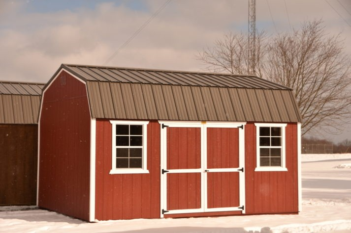 Utility Lofted Barn 12x16 Rustic Red with White Trim Bronze Metal 1