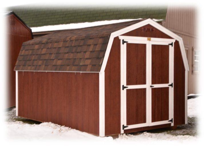 Utility Barn 8x12 Red Mahogany Urethane with White Trim Brownwood Shingles 2