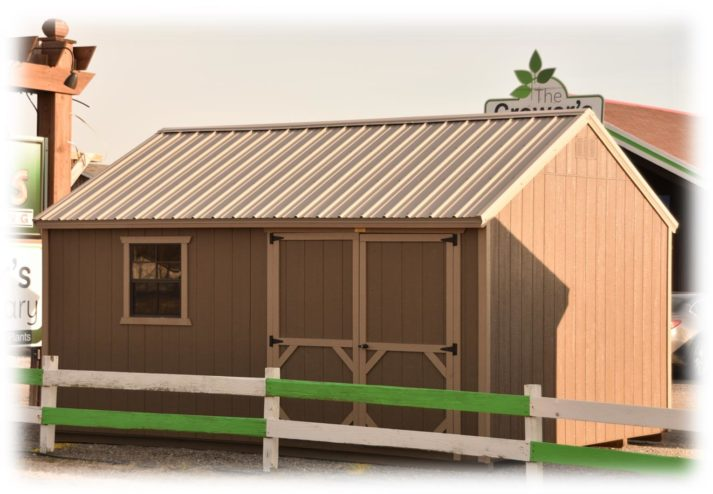 Utility Gable 12x16 Smokehouse withe Sanderling Trim Clay Metal