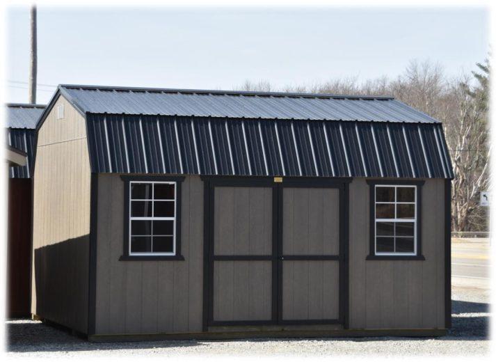Utility Lofted Barn 12x16 Driftwood with Black Trim 2