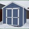 Utility Gable 8x12 Distance with White Trim Estate Gray Shingles