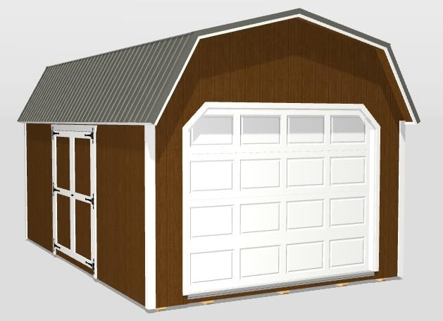 Signature Lofted Garage 12x18 Chestnut Brown with Vanillin Trim Charcoal Metal